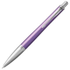 """Ручка шариковая PARKER """"Urban Premium Violet CT"""", корпус фиолетовый, анодированный алюминий, хром, 1931623, синяя"""