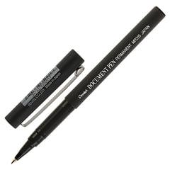 """Ручка-роллер PENTEL (Япония) """"Document Pen"""", ЧЕРНАЯ, корпус черный, узел 0,5 мм, линия письма 0,25 мм"""