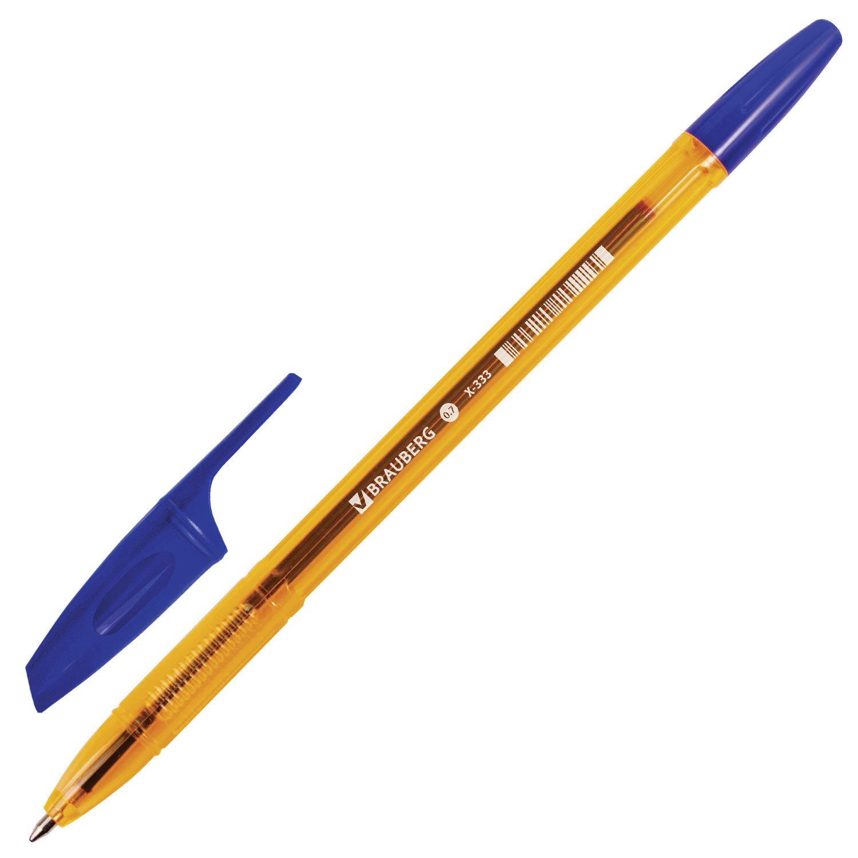 """Ручка шариковая BRAUBERG """"X-333"""" AMBER, СИНЯЯ, корпус тонированный оранжевый, узел 0,7 мм, линия письма 0,35 мм, 142832"""