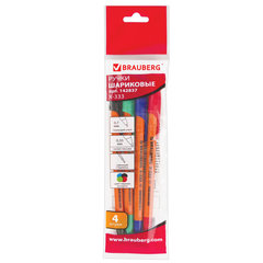 """Ручки шариковые BRAUBERG НАБОР 4 шт., АССОРТИ, """"X-333"""", оранжевые, узел 0,7 мм, линия письма 0,35 мм, 142837"""