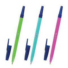 """Ручка шариковая STAFF """"Neon"""", корпус неоновый ассорти, узел 1 мм, линия письма 0,7 мм, синяя, 142963"""