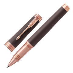 """Ручка-роллер PARKER """"Premier Soft Brown PGT"""", корпус коричневый, детали розовое золото, черная, 1931407"""