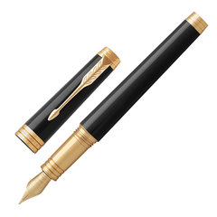 """Ручка перьевая PARKER """"Premier Black Lacquer GT"""", корпус черный, детали золото, черная"""