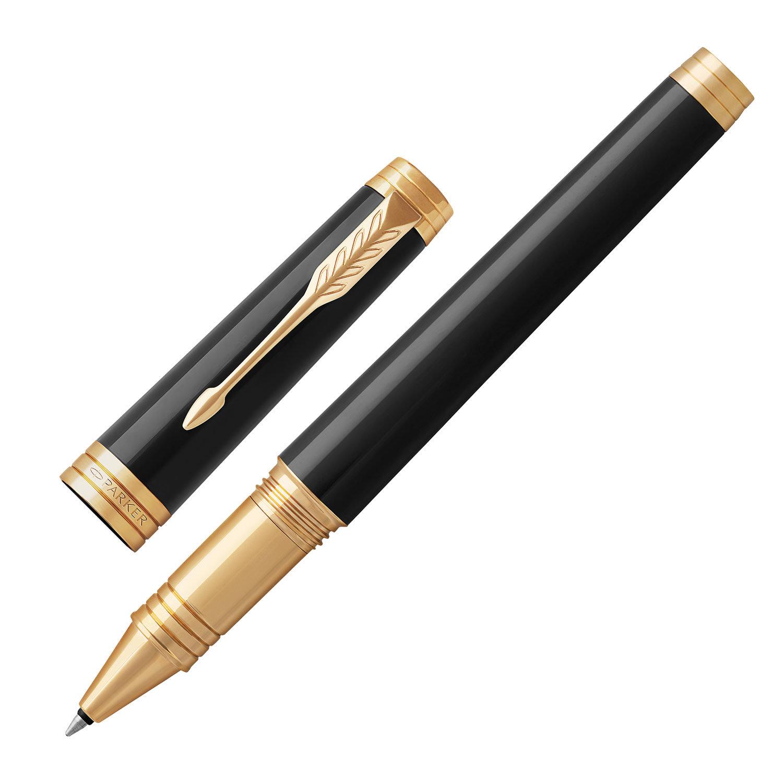 """Ручка-роллер PARKER """"Premier Black Lacquer GT"""", корпус черный, позолоченные детали, черная"""