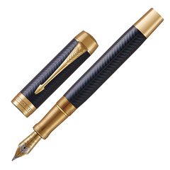 "Ручка перьевая PARKER ""Duofold Prestige Blue Chevron GT"", перо F, корпус синий, черная, 1931369"