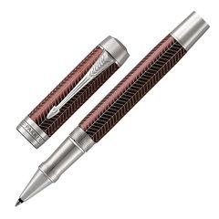 "Ручка-роллер PARKER ""Duofold Prestige Burgundy Chevron CT"", корпус бургунди, палладиевые детали, черная"