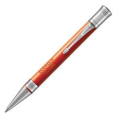 """Ручка шариковая PARKER """"Duofold Classic Big Red Vintage CT"""", корпус красный, палладиевые детали, черная"""