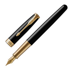 """Ручка перьевая PARKER """"Sonnet Laque Black GT"""", перо М, черная с черным кожаным чехлом, 2018971"""