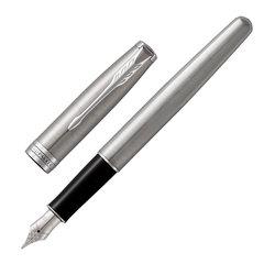 """Ручка перьевая PARKER """"Sonnet Stainless Steel CT"""", перо М, черная, с блокнотом, 2018973"""