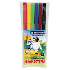 """Фломастеры CENTROPEN, 6 цветов, """"Пингвины"""", смываемые, вентилируемый колпачок, полибег"""
