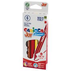 """Фломастеры CARIOCA (Италия) """"Joy"""", 6 цветов, суперсмываемые, вентилируемый колпачок, картонная коробка"""