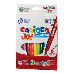 """Фломастеры CARIOCA (Италия) """"Joy"""", 12 цветов, суперсмываемые, вентилируемый колпачок, картонная коробка"""