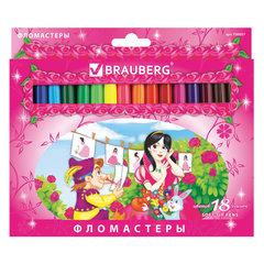 """Фломастеры BRAUBERG """"Rose Angel"""", 18 цветов, вентилируемый колпачок, картонная упаковка, увеличенный срок службы"""