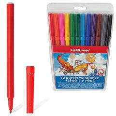 Фломастеры ERICH KRAUSE, 12 цветов, суперсмываемые, вентилируемый колпачок, пластиковая упаковка с подвесом