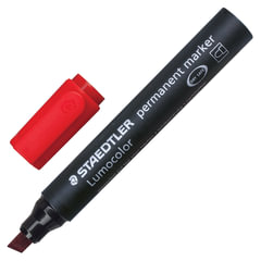 """Маркер перманентный (нестираемый) STAEDTLER (Германия) """"Lumocolor"""", скошенный, 2-5 мм, красный"""