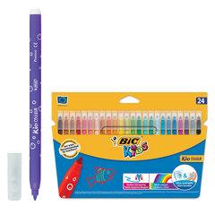 """Фломастеры BIC """"Kid Couleur"""" (Франция), 24 цв., суперсмываемые, вентилируемый колпачок, картонная упаковка, европодвес"""