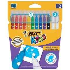 """Фломастеры BIC """"Пиши и стирай"""" (Франция), 12 шт., 10 цв.+2 стирающих, суперсмываемые, вентилируемый колпачок, картонная упаковка"""
