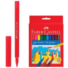 Фломастеры FABER-CASTELL, 24 цвета, смываемые, картонная упаковка, европодвес
