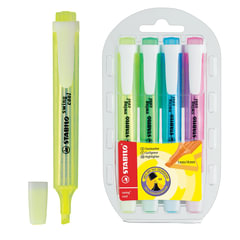 "Текстмаркеры STABILO, набор 4 шт., ""Swing cool"", 1-4 мм (желтый, зеленый, розовый, синий)"