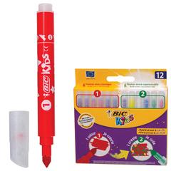 """Фломастеры BIC """"Рисуй и Твори"""", 12 штук, 6 цветов+6 цветов для особых эффектов, укороченные, картонная упаковка"""