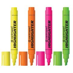 Текстмаркеры CENTROPEN, набор 4 штуки, скошенный наконечник, 1-4,6 мм, цвета неоновые, ассорти