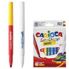 """Фломастеры CARIOCA """"Color Change"""", 10 штук, 9 цветов + 1 изменяющий цвет, утолщенный наконечник, смываемые"""