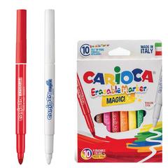 """Фломастеры CARIOCA """"Erasable"""", 10 штук, 9 цветов + 1 стирающий, утолщенный наконечник, смываемые"""