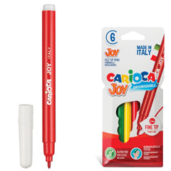 """Фломастеры CARIOCA """"Joy"""" (Италия), 6 цветов, суперсмываемые, вентилируемый колпачок, картонный конверт"""