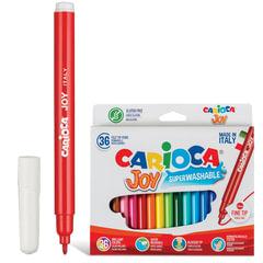 """Фломастеры CARIOCA """"Joy"""" (Италия), 36 цветов, суперсмываемые, вентилируемый колпачок, картонный конверт"""