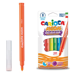 """Фломастеры CARIOCA (Италия) """"Neon"""", 8 цветов, флуоресцентные, суперсмываемые, картонный конверт"""