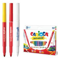 """Фломастеры CARIOCA (Италия) """"Magic"""", 20 штук, 18 цветов + 1 изменяющий цвет + 1 стирающий, картонная коробка"""