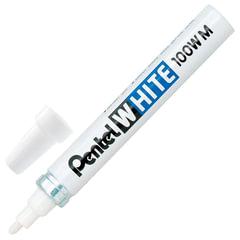 Маркер-краска лаковый PENTEL (Япония) WHITE, 3,9 мм, БЕЛЫЙ, алюминиевый корпус