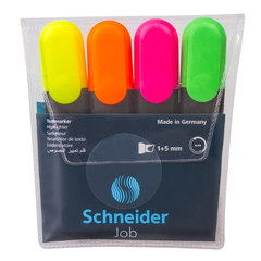 """Текстмаркеры SCHNEIDER, набор 4 шт., """"Job"""", скошенный наконечник 1-5 мм (желтый, зеленый, оранжевый, розовый)"""