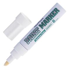 "Маркер-краска лаковый (paint marker) MUNHWA ""Jumbo"", 8 мм, БЕЛЫЙ, нитро-основа, алюминиевый корпус"