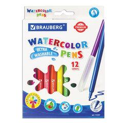 """Фломастеры BRAUBERG """"PREMIUM"""", 12 цветов, УЛЬТРАСМЫВАЕМЫЕ, классические, вентилируемый колпачок, картонная коробка с европодвесом, 151657"""