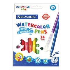 """Фломастеры BRAUBERG """"PREMIUM"""", 24 цвета, УЛЬТРАСМЫВАЕМЫЕ, классические, вентилируемый колпачок, картонная коробка с европодвесом, 151659"""