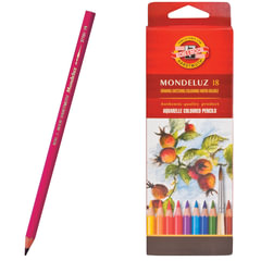 """Карандаши цветные акварельные художественные KOH-I-NOOR """"Mondeluz"""", 18 цветов, 3,8 мм, заточенные, европодвес"""