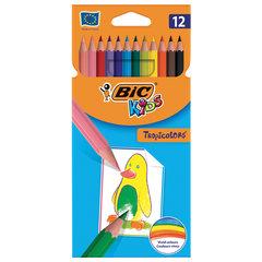 """Карандаши цветные BIC """"Tropicolors"""", 12 цветов, пластиковые, заточенные, европодвес"""
