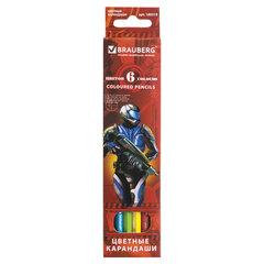 """Карандаши цветные BRAUBERG """"Star Patrol"""", 6 цв., заточенные, картонная упаковка"""