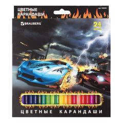 """Карандаши цветные BRAUBERG """"InstaRacing"""", 24 цвета, заточенные, картонная упаковка с отделкой выборочным лаком, 180559"""