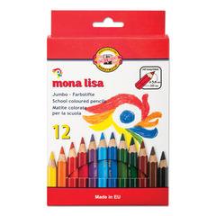"""Карандаши цветные утолщенные KOH-I-NOOR """"Mona Lisa"""", 12 цветов, 5,6 мм, заточенные, европодвес"""