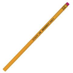 Карандаш чернографитный STAFF, 1 шт., НВ, с резинкой, корпус желтый