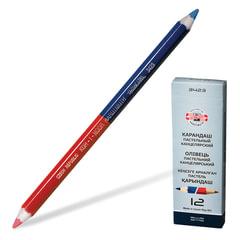 Карандаш двухцветный утолщённый KOH-I-NOOR, 1 шт., красно-синий, грифель 3,8 мм, картонная упаковка