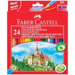 """Карандаши цветные FABER-CASTELL """"ECO Замок"""", 24 цвета, с точилкой, картонная упаковка с европодвесом"""