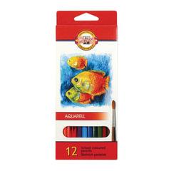 """Карандаши цветные акварельные KOH-I-NOOR """"Fish"""", 12 цветов, грифель 3 мм, заточенные, европодвес"""