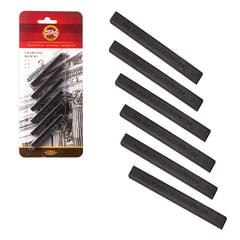 Уголь прессованный KOH-I-NOOR, набор 6 шт., квадратное сечение, 3 градации твердости