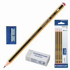 Набор STAEDTLER (Германия), карандаши чернографитные 4 шт. (НВ), резинка стирательная, точилка