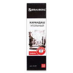Карандаш угольный BRAUBERG ART CLASSIC, 1 шт., мягкий, круглый, корпус черный, заточенный