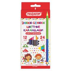 """Карандаши двухцветные ПИФАГОР """"ЭНИКИ-БЕНИКИ"""", 12 штук, 24 цвета, заточенные, европодвес"""