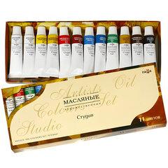 """Краски масляные художественные ГАММА """"Студия"""", 10 цветов по 9 мл + 2 белых цвета, в тубах"""